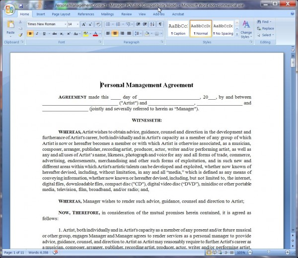 Personal Management ContractManagerS Point Of ViewLong Form