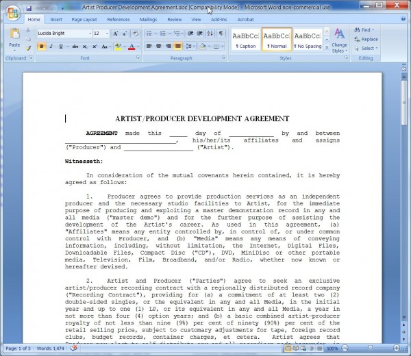 Artist Producer Development Agreement-Producer'S Point Of View