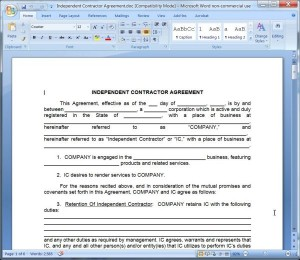 Independent Contractor Agreement from Company's Point of View